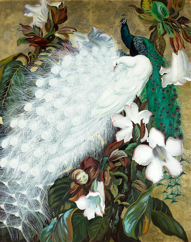 Jessie Arms Botke (American, 1883-1971) White and blue peacocks 30 x 24in