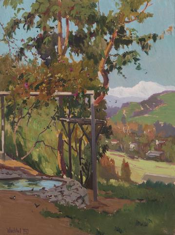 (n/a) Elmer Wachtel (American, 1864-1929) Their Garden, Sichel Street 17 1/2 x 13 1/4in