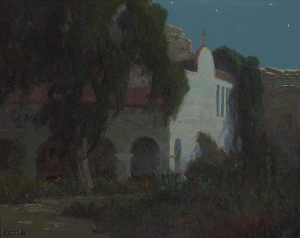 Elmer Wachtel (American, 1864-1929) San Juan Capistrano Mission by moonlight 16 x 20in
