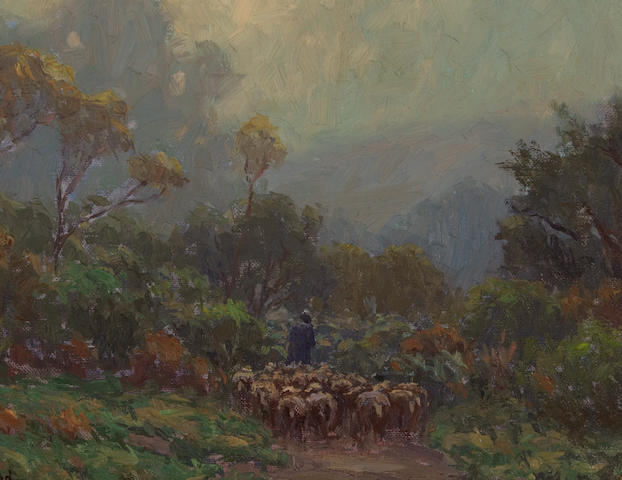Granville Redmond (American, 1871-1935) Misty morning, shepherd with flock 11 x 14in