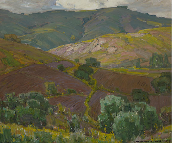 William Wendt (American, 1865-1946) Plowed fields 25 1/4 x 30in