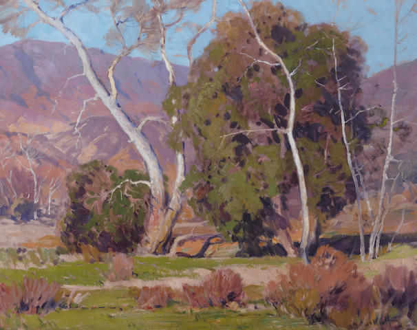 Hanson Puthuff (American, 1875-1972) Arboreal fraternity 24 x 30in