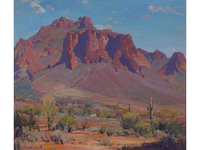 Hanson Puthuff (American, 1875-1972) Desert rampart 26 1/2 x 30in