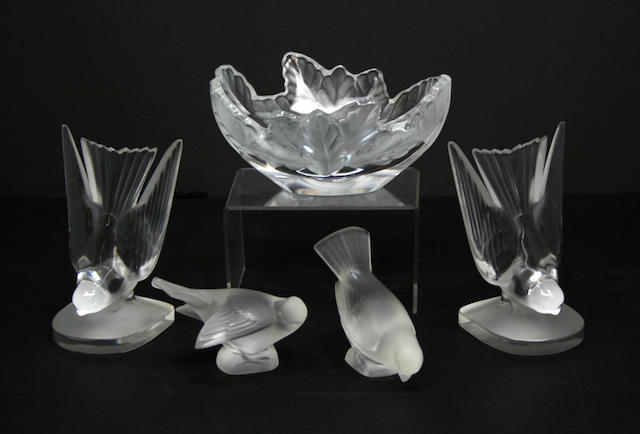 Five pieces of Lalique glass