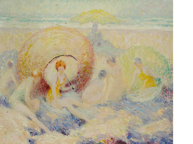 William Clapp (American, 1879-1954) Six in the sand 15 x 18in