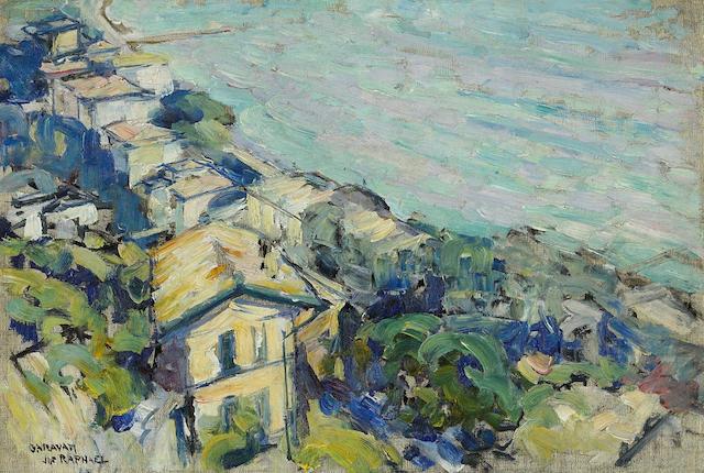 Joseph Raphael (American, 1869-1950) Caravan village scene 16 x 23 3/4in