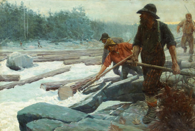 (n/a) Edwin Roscoe Shrader (American, 1878-1960) The Spring drive, following the logs down the river 24 x 36in