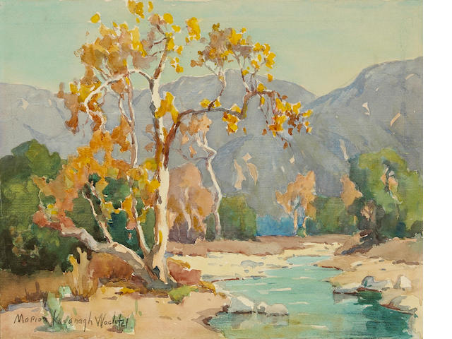 Marion Kavanagh Wachtel (American, 1870-1954) Stream by a tree with San Gabriel mountains beyond 11 x 13 1/2in