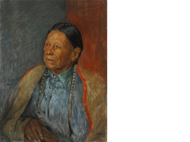 Charles Winstanley Thwaites (American, 1904-2002) A pair of portraits of Indian men each 24 x 18in