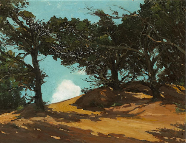 Frank Van Sloun (American, 1879-1938) Cypress on the coast  18 x 24in