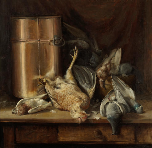 William Hubacek (American, 1871-1958) Still life with game birds and a copper pot, 1895  32 x 33in