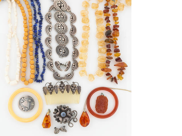 A collection of stone, silver and metal jewelry