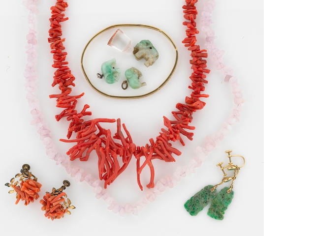 A collection of coral, jade, rose quartz, gold, silver and gold-filled jewelry