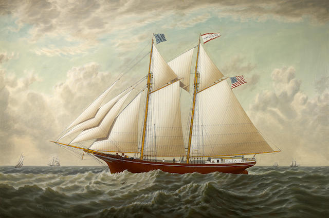 Joseph Lee (American, 1827-1880) The California lumber schooner 'Mary E. Russ' 32 x 48in
