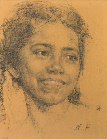 Nicolai Fechin, Head of a Young Woman, nd, Charcoal on Board 15 x 11 inches
