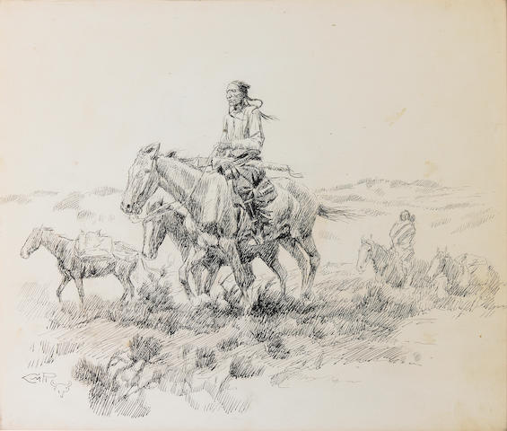 Charles Marion Russell (American, 1864-1926) Indian on horseback travelling with a squaw and pack horses 11 x 13in