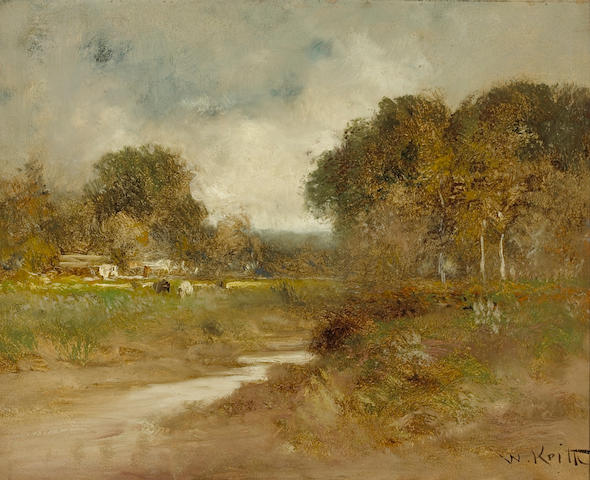William Keith (Scottish/American, 1838-1911) Cows grazing by a stream 16 x 20in