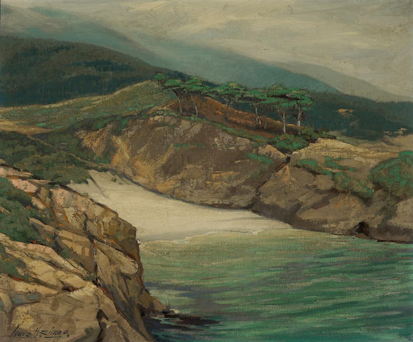 Louis Hovey Sharp (American, 1874-1946) Peaceful cove, California coast 25 x 30in