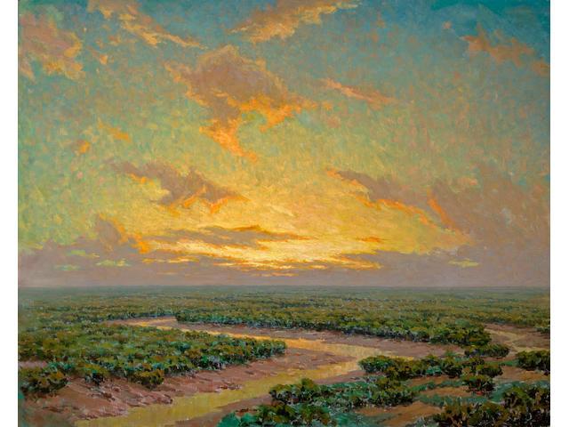 (n/a) Granville Redmond (American, 1871-1935) Marsh under golden skies 40 x 50in