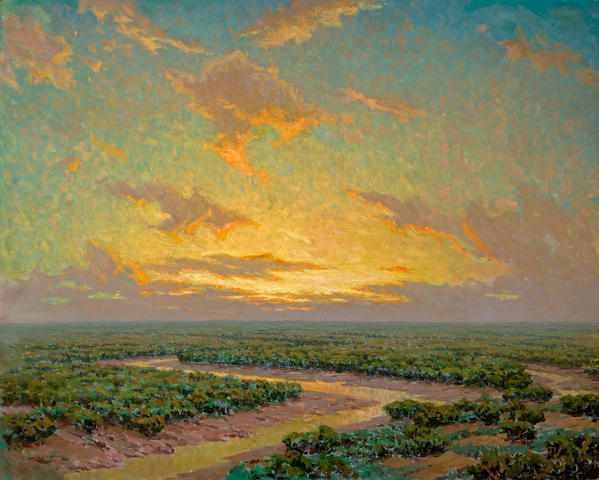 (n/a) Granville Redmond (American, 1871-1935) Marsh under golden skies 40 x 50in