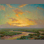 Granville Redmond (American, 1871-1935) Marsh under golden skies 40 x 50in