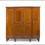 A Federal mahogany three part wardrobe<br>mid Atlantic states <br>early 19th century