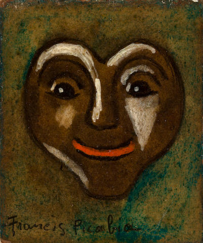 Francis Picabia<br> oil on board<br>heart face<br> dimensions of work 3 1/4 x 2 3/4in<br> framed 9 1/2 x 8 in