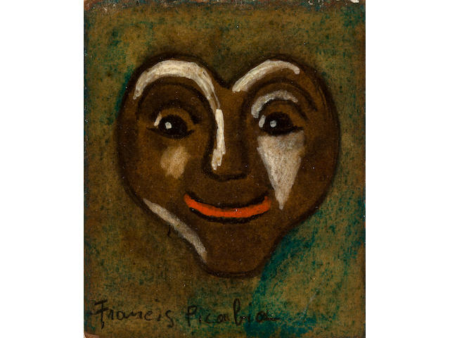 Francis Picabia (1878-1953) Untitled (Heart face) 3 1/8 x 2 5/8in (8 x 6.7cm)