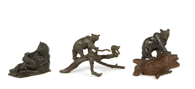 School of Charles Marion Russell (American, 1864-1926) A group of three bronze sculptures of bears each approx. 6 x 7 x 4in