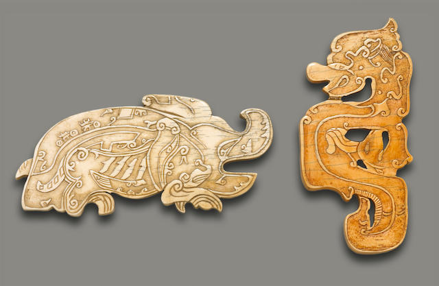 Two ivory animal plaques, Qing Dynasty, 19th Century