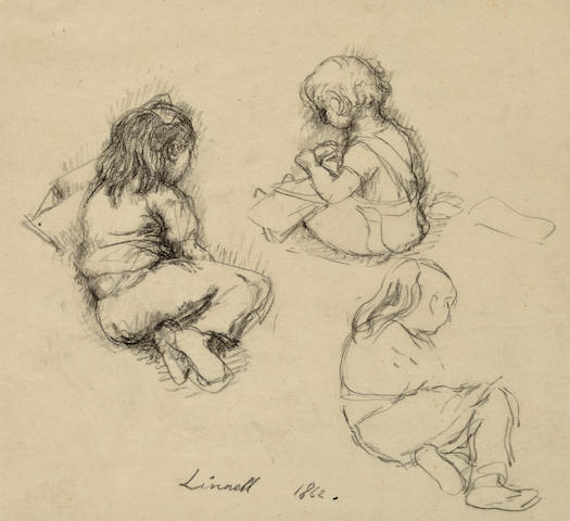 John Linnell (British, 1792-1882) Three studies of a young girl 13 x 20in (33 x 50.8cm)