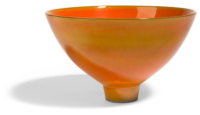 James Lovera red fire glazed ringed foot bowl