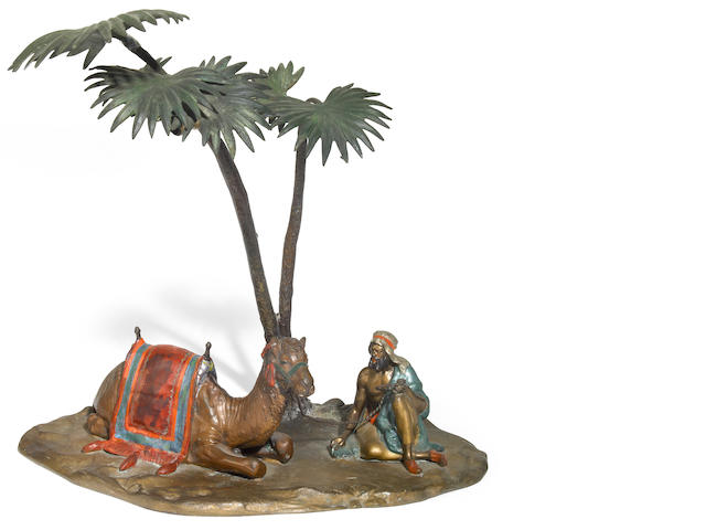 An Austrian cold painted figural lamp circa 1900
