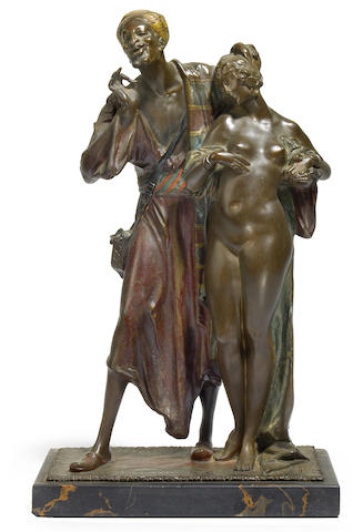 A Bruno Zach cold painted bronze and marble Slave Trader figural group circa 1900