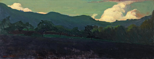 Armin Hansen (American, 1886-1957) Carmel country at night, 1918 10 3/4 x 27in