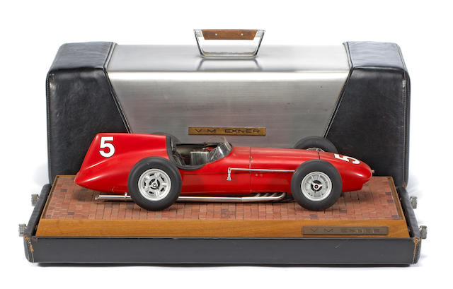 A Virgil Exner 1958 Indy Roadster scale model in custom case,