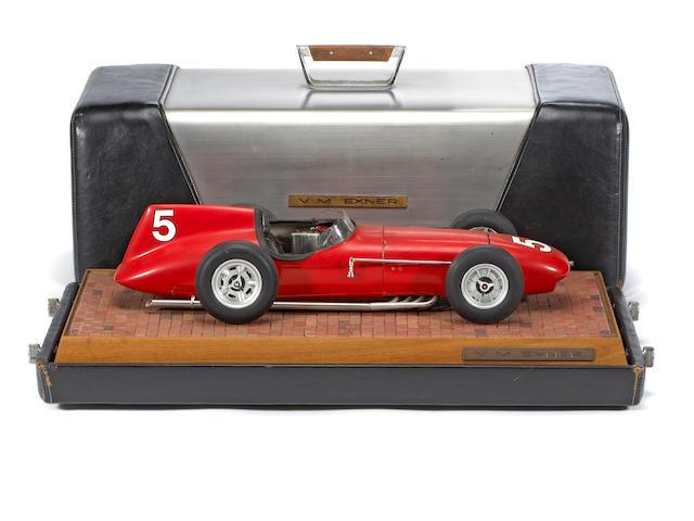 A Virgil Exner 1958 Indy Roadster scale model in custom case