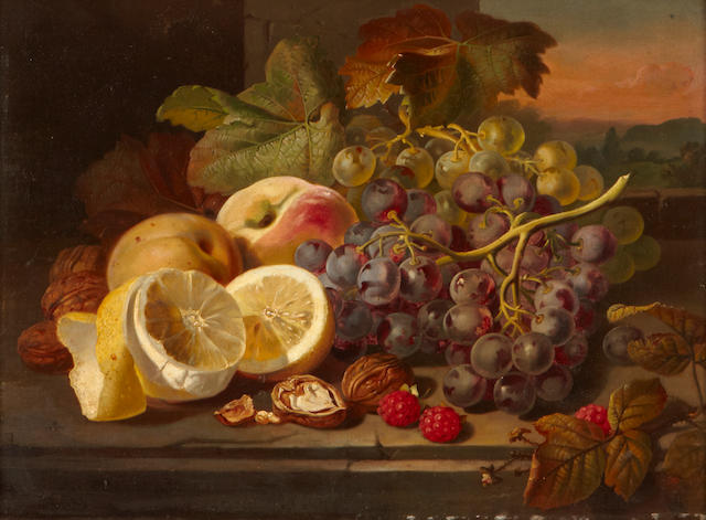 Follower of Edward Ladell (British, 1821-1886) A still life with fruit and nuts on a table 12 x 16in