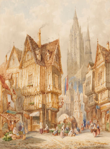 Heinrich Schäffer (German, 1818-1873) Village scenes (a pair) both sight 15 1/4 x 11 3/4in