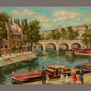 J.  Valois A view along the Seine near Notre Dame 20 x 24in
