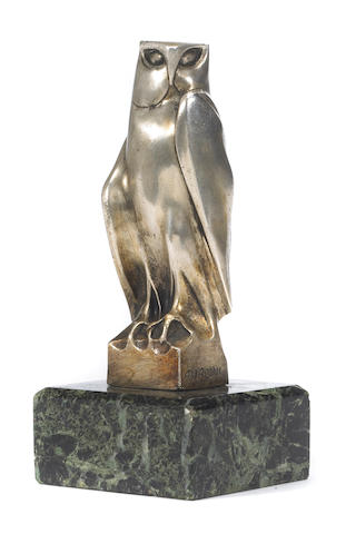 "An 'Owl"" by Alfredo Biagini mascot, French, c. 20s,"