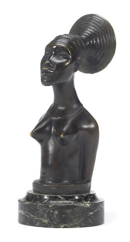 A 'la femme Mangbetu' signed Mazzei, French, circa 1925,