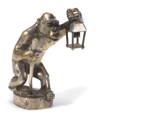 A 'monky and his lamp' mascot by Bourcart, French, circa 1920,