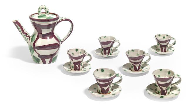 A Stanley Mace Anderson majolica tea set