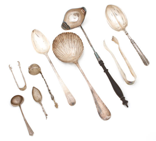 An assembled group of domestic and foreign silver flatware