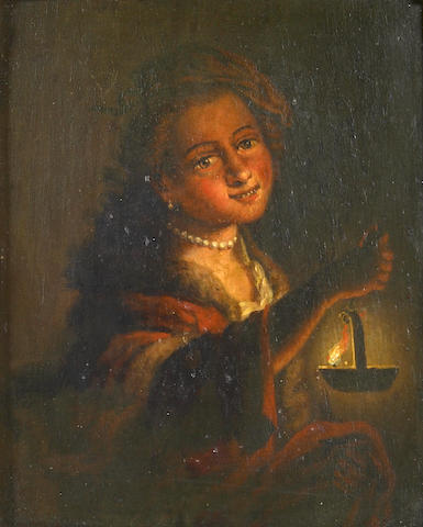 Manner of Godfried  Schalcken A portrait of a girl with a lamp 9 x 7in