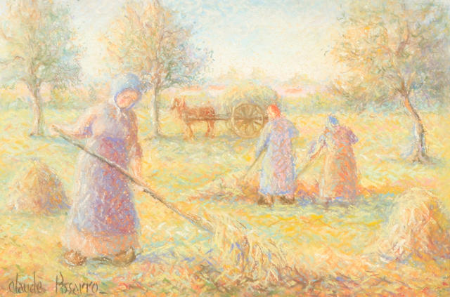 Hughes Claude Pissarro (French, born 1935) La Moisson à Sagy 9 1/2 x 14 3/4in