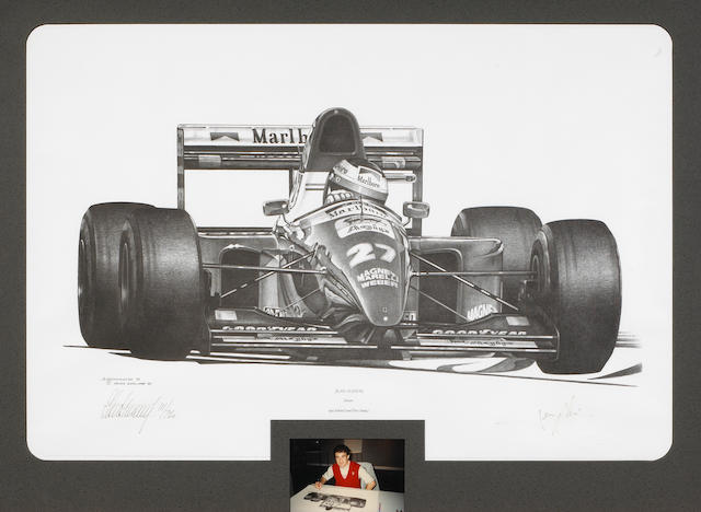 Ferrari Formula One Jean Alesi print after Alan Stammers