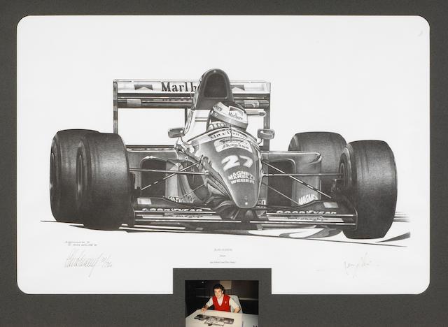 A framed, signed Ferrari Formula One Jean Alesi print