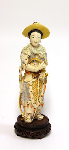 A Chinese ivory warrior maiden, polychrome decoration, 20th century